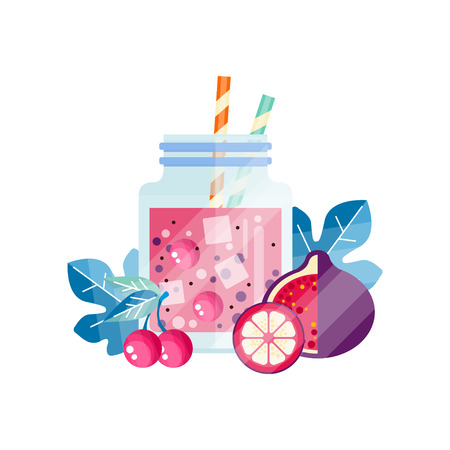 Fresh cocktail with cherry, grapefruit and passion fruit. Delicious smoothie in glass jar with ice cubes and drinking straws. Vegetarian drink. Flat vector design