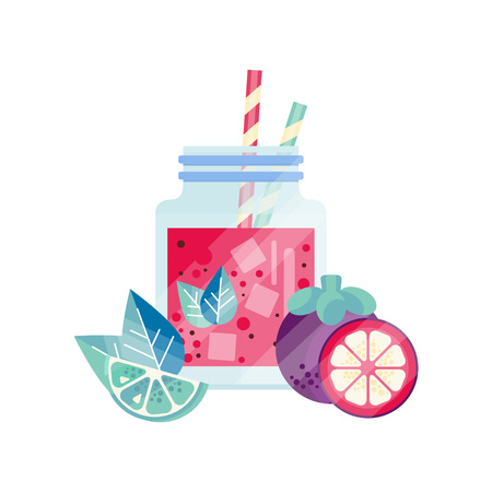 Organic smoothie with lime, grapefruit and mangosteen. Natural vegetarian drink. Refreshing cocktail in glass jar with ice cubes and drinking straws. Delicious juice. Isolated flat vector illustration Illustration