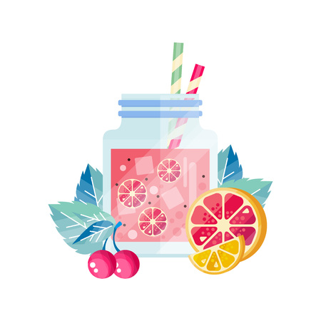 Delicious summer cocktail with cherry, lemon and grapefruit. Glass jar with ice cubes and drinking straws. Organic juice. Healthy beverage. Colorful flat vector design isolated on white background.