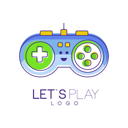 Gamepad with buttons to play. Gaming controller logo. Linear emblem with blue, green and yellow fill. Colorful graphic design gadget store, mobile app or website. Vector illustration isolated on white