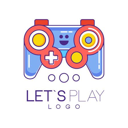 빨간색과 파란색으로 채워진 선 스타일의 Xbox 게임 패드 로고 디자인. 게임 콘솔 용 무선 조이스틱. 가제트 매장, 개발자 회사의 그래픽 요소. 다채로운
