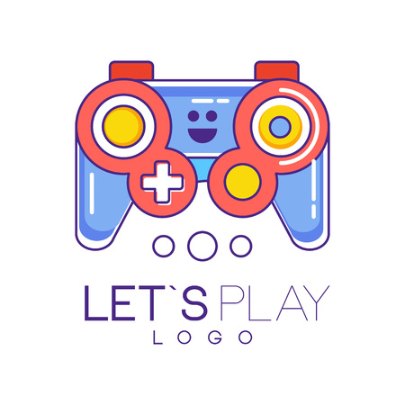 gamepad logo design in line style with red and blue fill. Wireless joystick for game console. Graphic element for gadget store, developers company. Colorful vector illustration isolated on white.