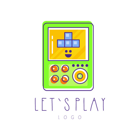 Original tetris logo. Electronic gadget. Linear emblem with green, yellow and blue fill. Graphic design for game store, mobile app or developer company. Colorful vector illustration isolated on white. Stock Vector - 93962378