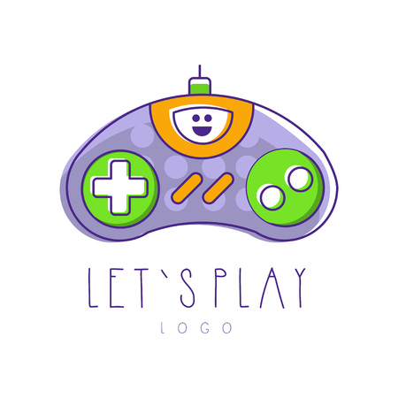 Gaming controller logo. Let s play. Gamepad icon. Design for device store, mobile app or developer company. Line art with purple, green and orange fill. Colorful vector illustration isolated on white.