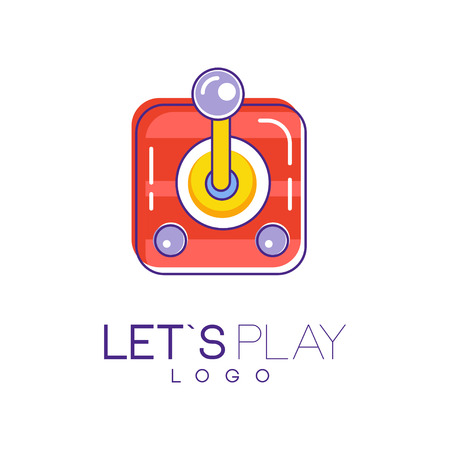 Joystick for computer video games. Creative linear icon with red, yellow and purple fill. Vector design for device store, logo, website or mobile app Ilustrace