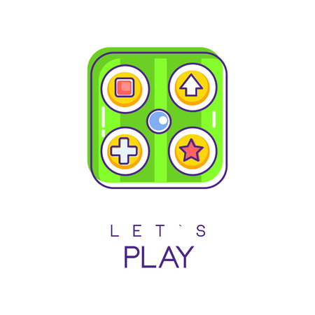 Game gadget in square shape with various buttons. Electronic device for computer videogame. Let s play. Vector design for web site, mobile app or logo