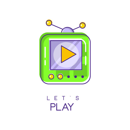 Electronic gadget icon game console icon in linear style with green and purple fill. Play device digital technology concept vector design for mobile app or web site. Ilustrace