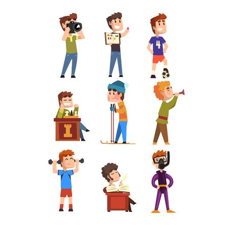 Jonge tieners hobbyset. Kinder stripfiguren. Postzegels verzamelen, voetbal, schaken, fotografie, sport, duiken, trompet spelen, poëzie. Stock Illustratie