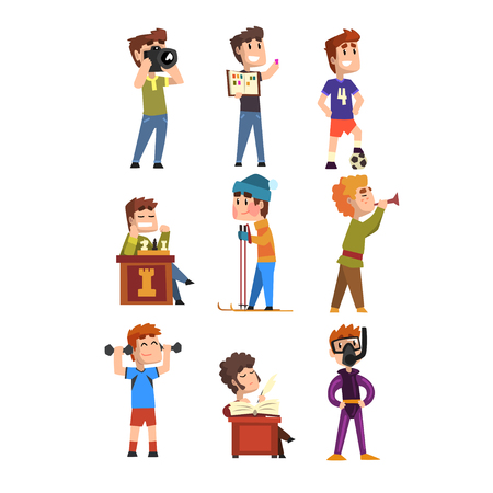 Young teenagers hobby set. Cartoon kids characters. Collecting stamps, football, chess, photography, sports, diving, playing trumpet, poetry.