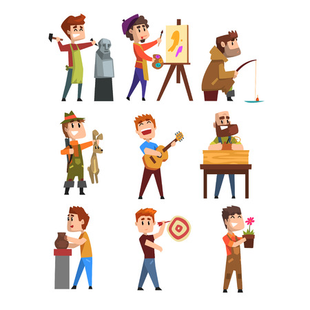 People hobby set. Cartoon male characters. Sculpturing, painting, fishing, hunting, playing guitar, gardening, playing darts.