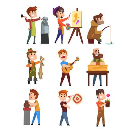 Set di hobby per persone. Personaggi maschili dei cartoni animati. Scolpire, dipingere, pescare, cacciare, suonare la chitarra, fare il giardinaggio, giocare a freccette.