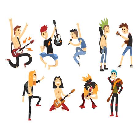Personnages de rock artistes chantant et jouant sur des instruments de musique. Les gars avec des coupes de cheveux colorées. Guitaristes et chanteurs. Groupe de musique plat vector ensemble Banque d'images - 94152908