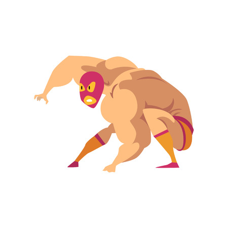 Strong wrestler in landing powerful action. Mixed martial artist. Cartoon fighter character in red-orange mask, shorts and socks. Combat sport Flat vector design