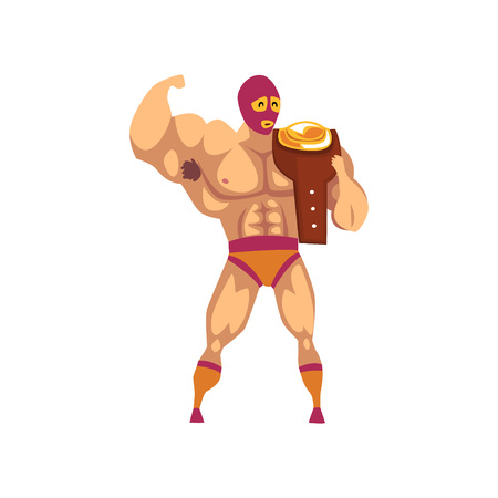 Muscular wrestler standing and holding winner s belt on his shoulder. Cartoon fighter in red-orange mask and shorts. Mixed martial artist. Strong man Flat vector design