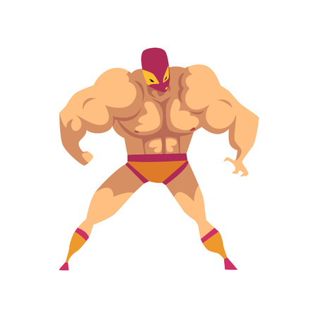 Cartoon strong wrestler in powerful pose. Fighter in red-orange mask, shorts and socks. Professional martial art artist. Ready to fight. Combat sport Flat vector