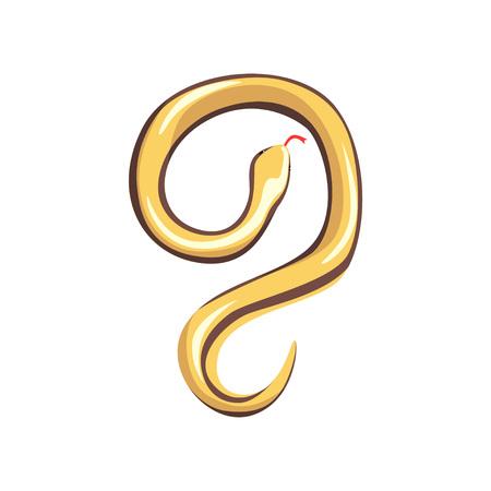 Beige-yellow snake with tongue out. Poisonous predator. Dangerous tropical serpent. Exotic domestic animal. Wildlife concept. Cartoon flat vector design Ilustração