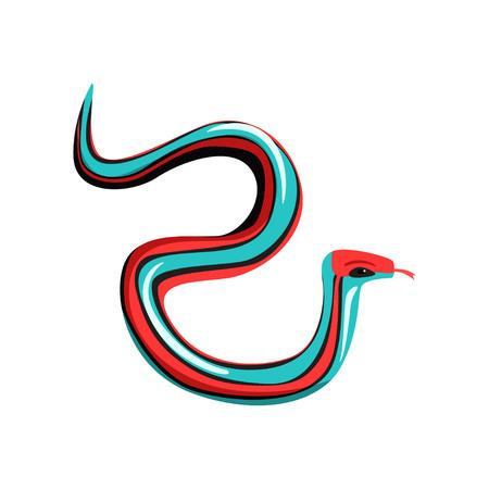 Serpente de liga Multi-colorida com lingüeta para fora. Réptil venenoso com azul brilhante, vermelho e preto. Animal exótico. Conceito de vida selvagem Desenho vetorial plana Foto de archivo - 94153227