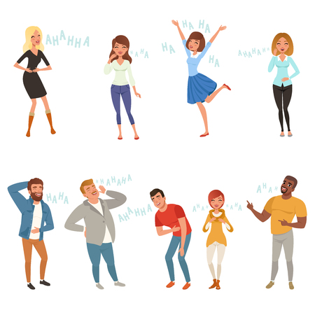 Colorful icon set with loudly laughing people at funny joke. Cartoon men and women characters in casual clothes. Hahaha text. Full-length portraits. Flat vector design Illustration