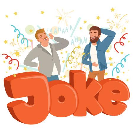 おかしな冗談を聞いて大声で笑う大人の二人。カラフルな紙吹雪が空を飛ぶ。ハハハテキスト。カジュアルな服を着た漫画の人々のキャラクター。  イラスト・ベクター素材