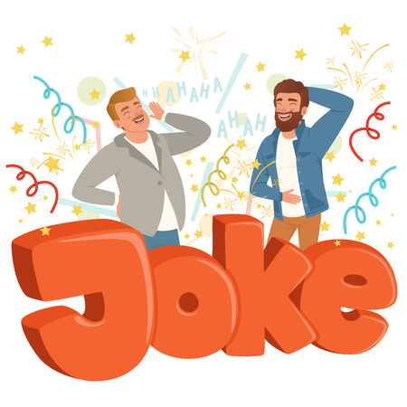 Two adult men loudly laughing after hearing funny joke. Colorful confetti flying in the air. Hahaha text. Cartoon people characters in casual clothes. Flat vector design