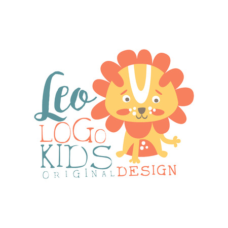 Leo kids logo original design, baby shop label, fashion print for kids wear, baby shower celebration, greeting, invitation card colorful hand drawn vector Illustration on a white background