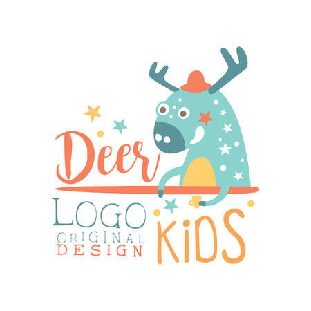 Deer kids logo original design, baby shop label, fashion print for kids wear, baby shower celebration, greeting, invitation card colorful hand drawn vector Illustration Çizim