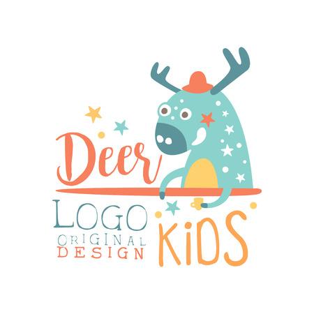 Deer kids logo original design, baby shop label, fashion print for kids wear, baby shower celebration, greeting, invitation card colorful hand drawn vector Illustration Illustration