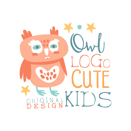 Owl icon , cute kids original design, baby shop label, fashion print for kids wear, baby shower celebration, greeting, invitation card colorful hand drawn vector Illustration on a white background
