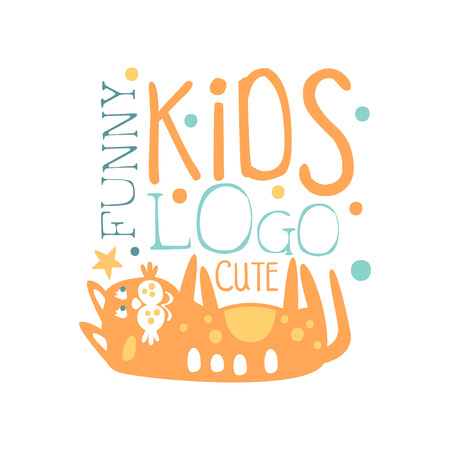 Funny cute kids logo, baby shop label, fashion print for kids wear, baby shower celebration, greeting, invitation card colorful hand drawn vector Illustration