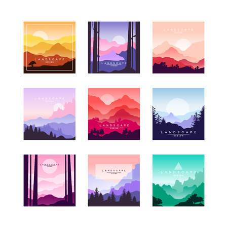 Set of beautiful flat cartoon landscapes with mountains, hills and forest. Natural theme with bright colors. Vector collection of nature backgrounds or posters made of simple shapes with gradients.