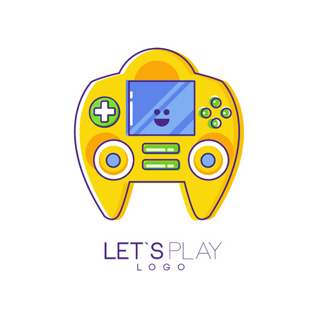 Game console with screen and buttons. Electronic gadget. Linear emblem with yellow fill. Colorful vector design for logo, mobile app or developer company