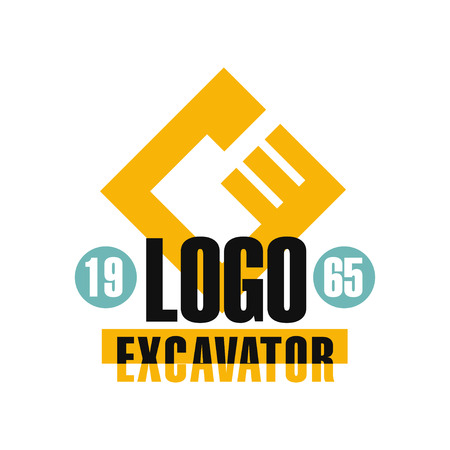 Excavator icon design, estd 1965, backhoe service label vector Illustration on a white background