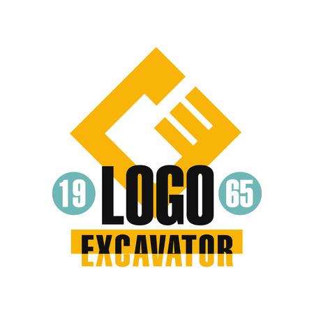 Excavator icon design, estd 1965, backhoe service label vector Illustration on a white background