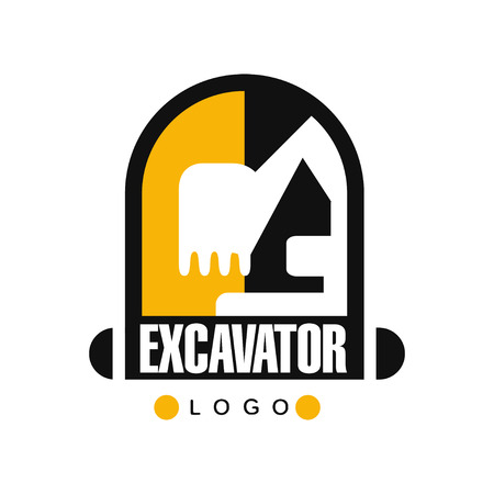 Excavator icon template, backhoe service label vector Illustration on a white background Ilustração