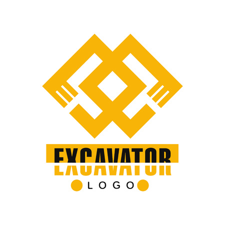 Excavator logo, backhoe service label vector Illustration on a white background