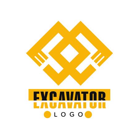 Graafmachine logo, backhoe service label vector illustratie op een witte achtergrond