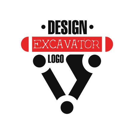 Excavator icon , backhoe service label vector Illustration Illustration