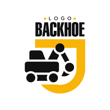Backhoe logo design, excavator equipment service yellow and black label vector Illustration on a white background Illustration