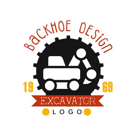 Backhoe design, estd 1989, excavator logo vector Illustration on a white background Illustration