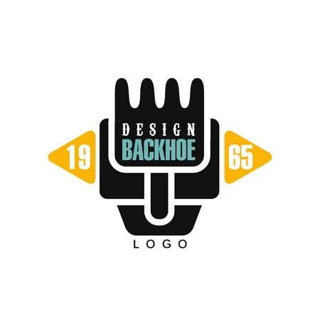 Backhoe logo-ontwerp, estd 1965, graafmachine apparatuur service label vector illustratie op een witte achtergrond Stock Illustratie