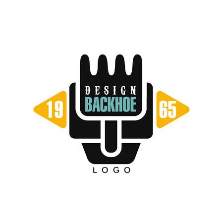 Backhoe logo design, estd 1965, excavator equipment service label vector Illustration on a white background Illustration