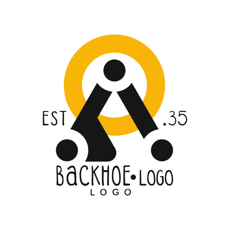 Backhoe logo design, estd 1935, excavator equipment service yellow and black retro label vector Illustration on a white background Illustration