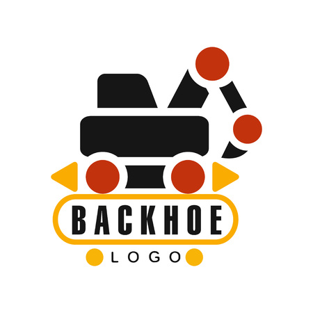Backhoe icon, excavator equipment service label vector Illustration Ilustração