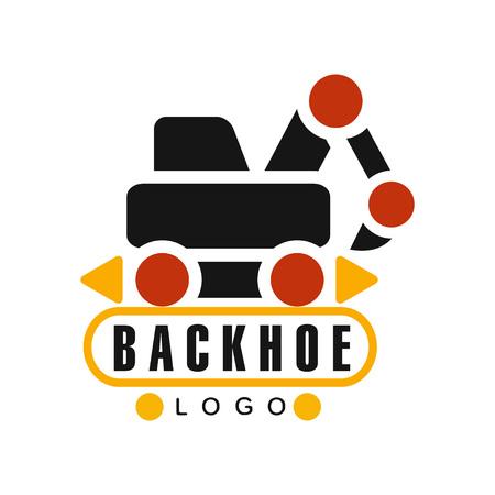 Backhoe pictogram, graafmachine apparatuur service label vector illustratie