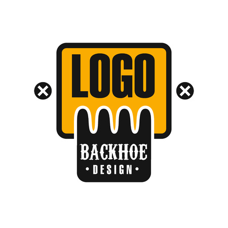 Backhoe icon design, excavator equipment service yellow and black label vector Illustration on a white background Illustration