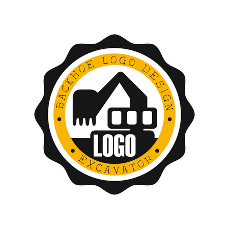 Backhoe logo design, excavator equipment service round yellow and black label vector Illustration
