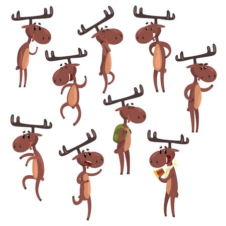 Cartoon set van grappige bruine eland in verschillende poses. Europees-Aziatische elanden met grote hoorns Zoogdier bos dier karakter. Zoo thema. Ontwerp voor briefkaart of kinderboek. Geïsoleerde platte vectorillustratie. Stock Illustratie