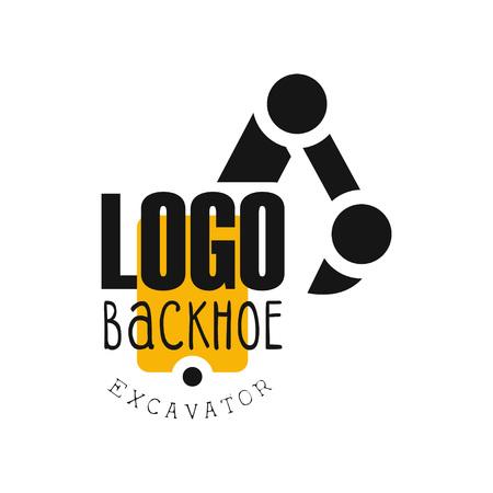 Backhoe-logo, graafmachine apparatuur service label vector illustratie op een witte achtergrond