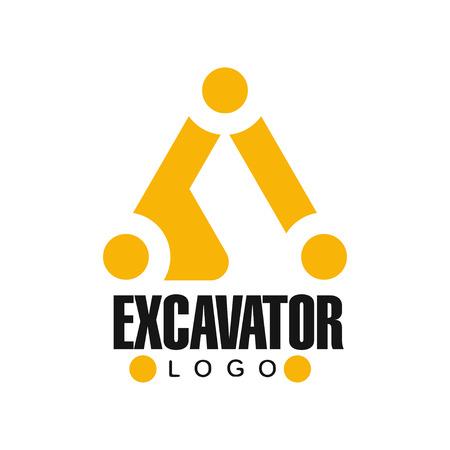 Graafmachine logo ontwerp, backhoe service zwart en geel label vector illustratie op een witte achtergrond