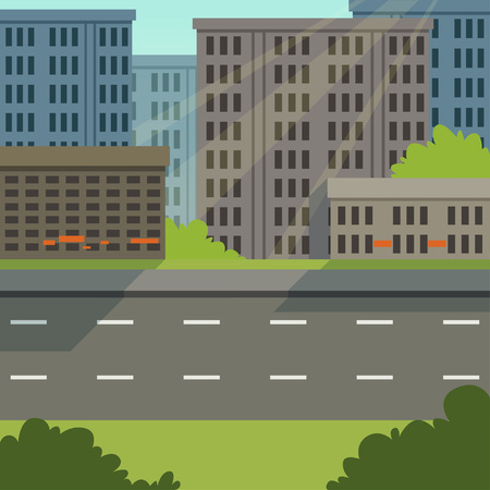 City street with road and city buildings, modern cityscape, urban background vector illustration, flat style Ilustração